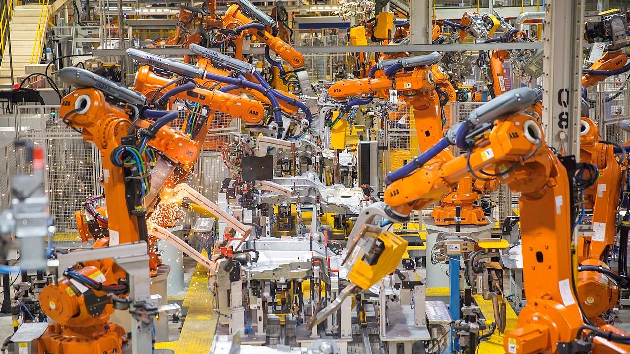 Linha de produção robotizada